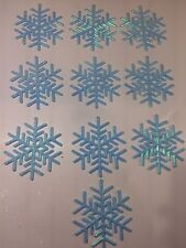 10 Teal Glitter Snowflakes Turquoise Peacock Frozen Christmas Tree Ornament