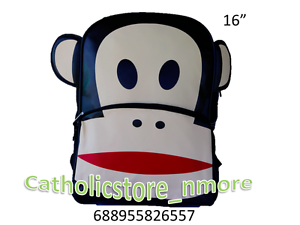 "Paul Frank Julius Big Face Puffy Ears School Backpack 16/"" Large School Bag-6557"