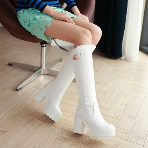 Details about  /34//43 Women Lolita Platform Punk Cosplay Gothic Mid-Calf Boots High Heel Shoes D