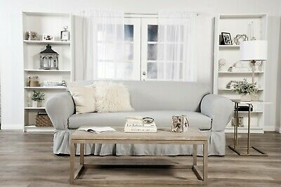 Admirable Ruffled Cotton Sofa Slipcover 2 Pc Gray Ebay Gmtry Best Dining Table And Chair Ideas Images Gmtryco