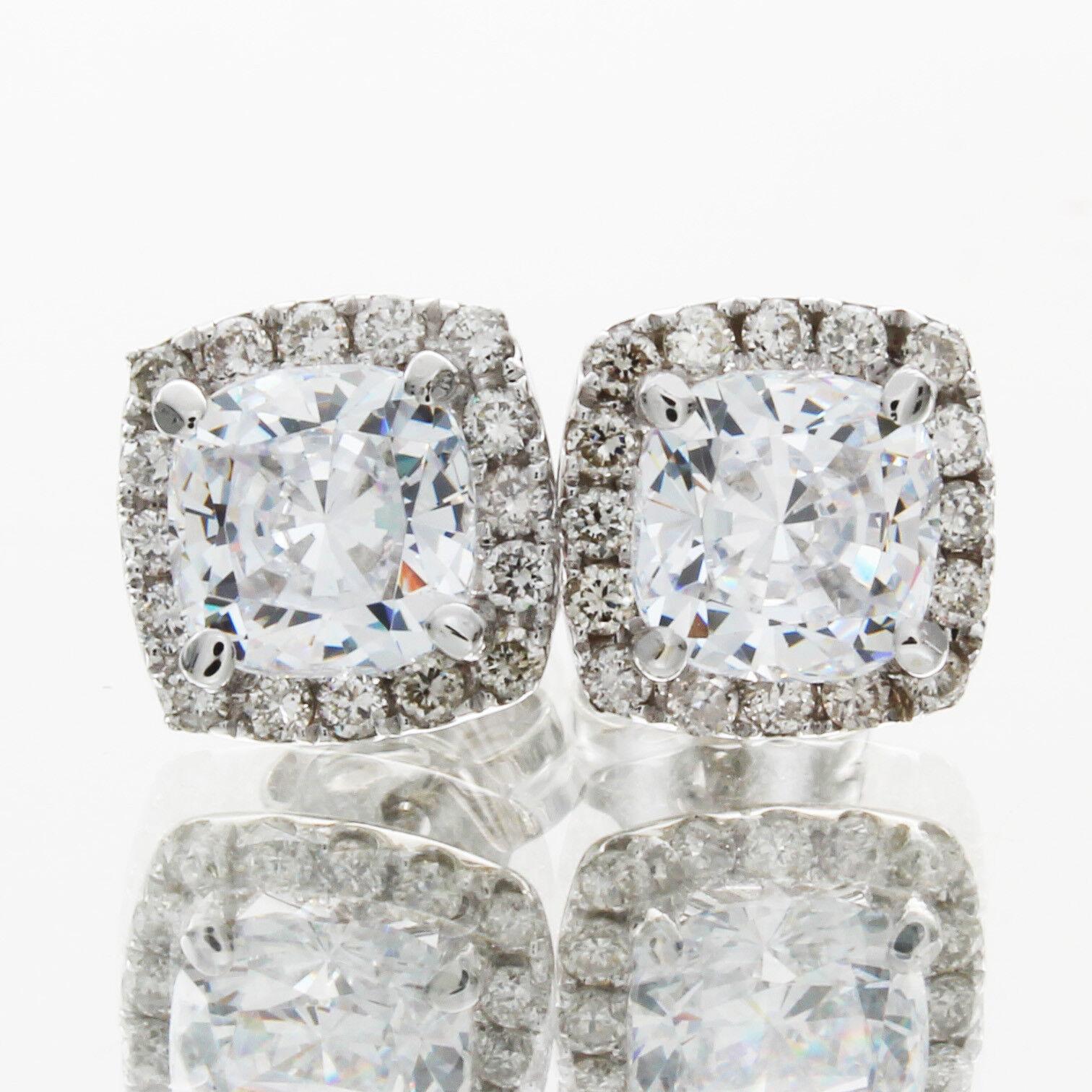 18k White gold Cushion Cut Diamond GIA Certified 2.50 Carat Diamond Earring Set