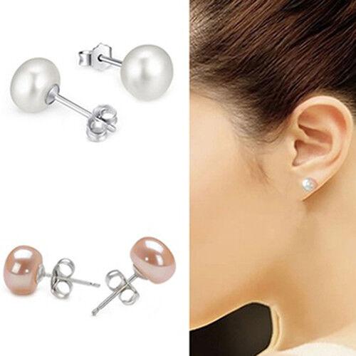 KD_ Women's Faux Pearl Ear Stud Earrings Silver Plated Percing Jewelry Gift Ni