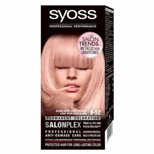 Details About Syoss Permanent Hair Color Dye 9 52 Light Rose Gold Blond Metallic Salonplex