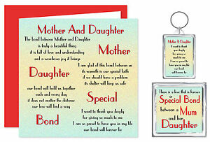 Image Is Loading Mother Amp Daughter Verse Gift Set Card Keyring
