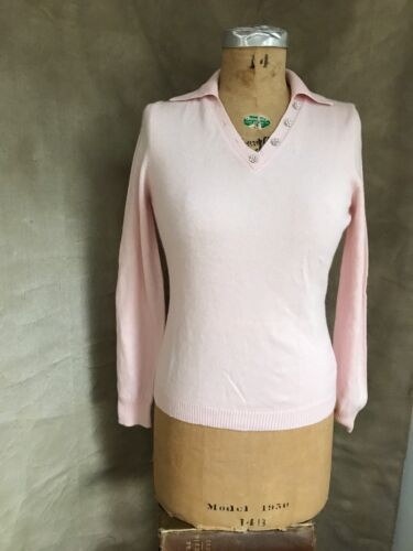 Women PINK CASHMERE Cotton Collar Sweater CRYSTAL… - image 1