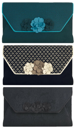 Petrol Blue Black Petra Eva NEW Ruby Shoo Valencia Corsage Clutch Bag Sand
