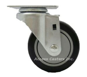 "A1 4/"" x 1-1//4/"" Polyurethane on Plastic Caster 1 Swivel with Brake"