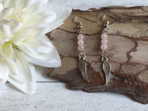 Rose Quartz Pink Gemstone Bead Angel Wing Boho Silver Earrings MORE COLOURS