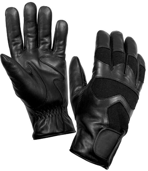 Black Cold Weather Leather Tactical Military Shooting Gloves