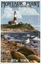 Montauk Point Lighthouse New York Long Island NY, Seagull Bird - Modern Postcard