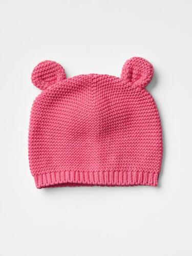 Animal Garter Knit Sweater Hat w//Ears GAP Baby Girl Size 3-6 Months Pink Bear