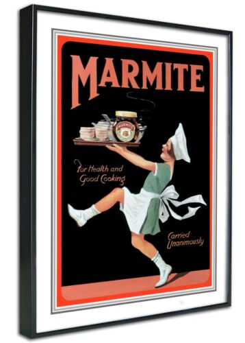 Retro Vintage Kitchen Diner Cafe Marmite Framed Canvas Art Print Poster