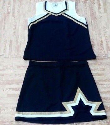 "Sporting Goods Adult Black Gold White Cheerleader Uniform Top Skirt 38-40/32-33"" Nola Saints Cheerleading"