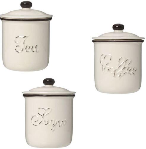Petit chiltern thé sucre set bidon pot brown rim dolomite avec couvercle café