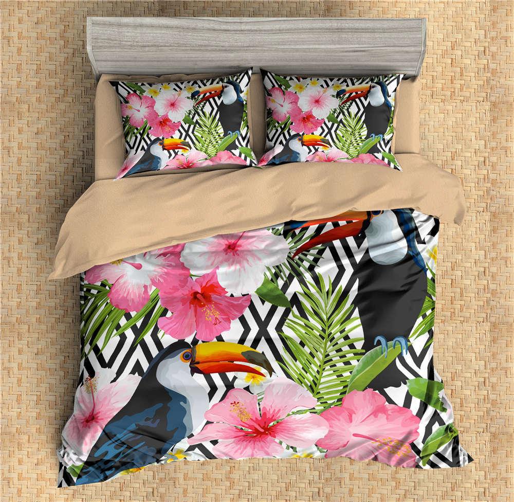 Parrot Stands A Grün Leaf 3D Digital Print Bedding Duvet Quilt Cover Pillowcase