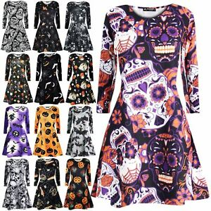 b9ff94c7cf02 Image is loading Ladies-Fancy-Costume-Skull-Halloween-Sleeves-Women-Printed-