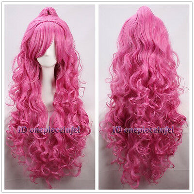Megurine Luka Vocaloid Long Pink Curly fluffy Cosplay Wig  +  one Clip Ponytail