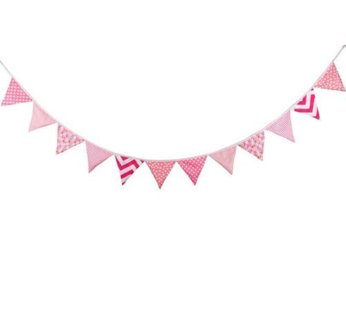 Rustic Cotton Bunting Banner Triangle Flags Wedding Party Cafe Decor Pink