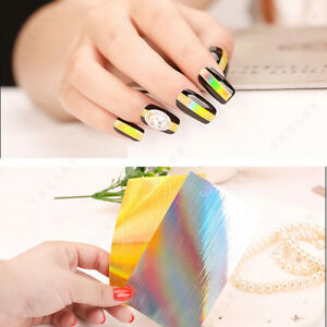 Holographic Strip Tape Nail Art Stickers Striped Line Diy Nail Foil