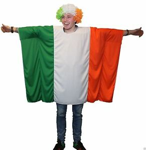 Unisex-Irish-Flag-Poncho-One-Size-Ireland-St-Patrick-039-s-Day-Rugby-Fancy-Dress