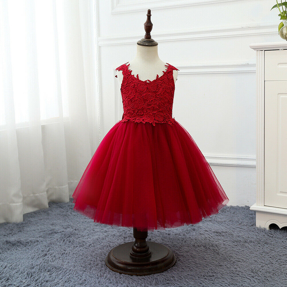 Children's Girls Red Elegant Floral Lace Bownot Ball Gown Tulle Dress ZG9