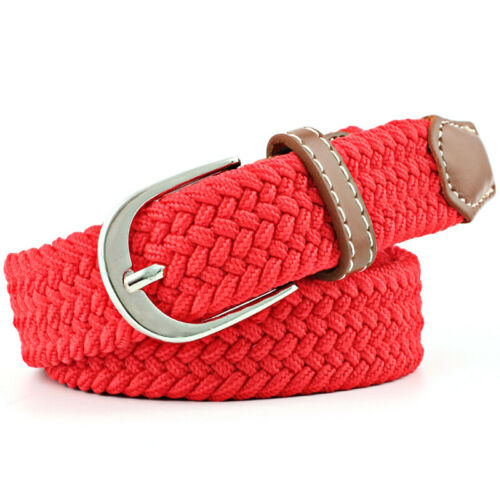 Mens Womens Waist Belt Leather Canvas Woven Elastic Stretch Pin Buckle For Jeans