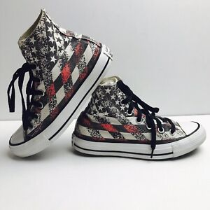 c89acdc9fe77 Converse Chuck Taylor All Star Hi Top Shoes USA American Flag M 4 W ...