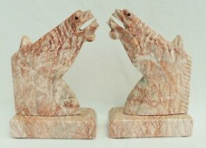 Large-Pair-Vintage-10-034-Pink-Marble-Stone-Figural-Horse-Head-Equestrian-Bookends
