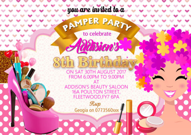 Personalised Girls SPA PARTY PAMPER MAKEOVER SLEEPOVER BIRTHDAY Invitations X 8