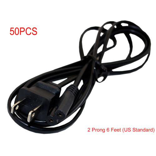 Lot50 2 Prong 6 Feet AC Power Cord Cable For HP Sony Acer Dell Compaq Lenovo US
