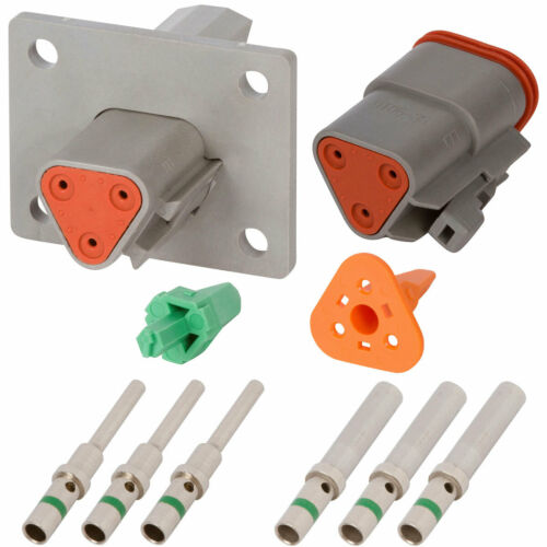 Deutsch DT 3 Pin Gray Flanged Connector Kit w// 14 AWG Solid Contacts