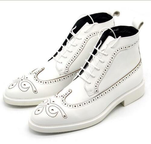 2018 Mens White Lace Up Leather Ankle Boots Brogues Business Dress Shoes Wedding