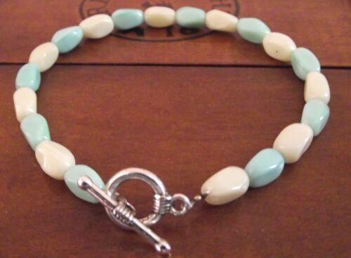 fabrication main Fr BRACELET Bicolore blanc /& bleu turquoise Perles  Verre
