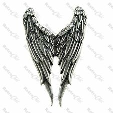 LARGE ANGEL WINGS RING rhinestone wings ADJUSTABLE vintage silver with crystals
