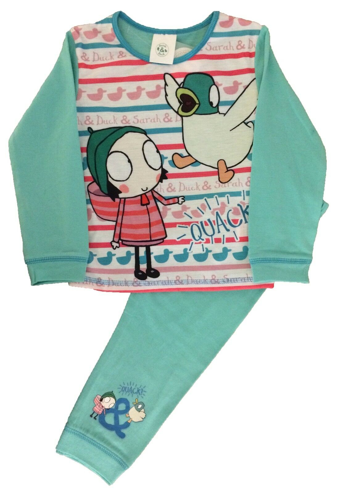 Girls Sarah and Duck Pyjamas Cbeebies Aqua 18-24 months to 4-5 years New