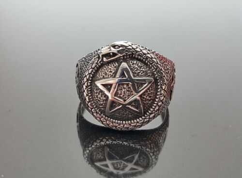 .925 Sterling silver Ring Talisman Pentargam Ouroboros Snake eating Tale Wiccan