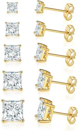 Brillante para mujer princesa corte cubic zirconia cúbico 4 Clavijas Enchapado en Oro Rosa 18k