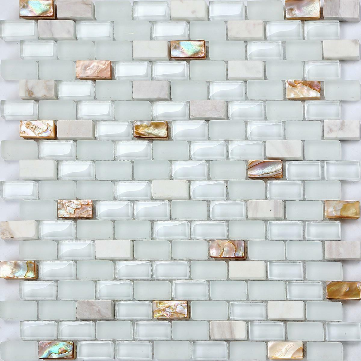 1 SQ M Mother of Pearl , Stone & Glass Mosaic Wall Tile Sheet 0148