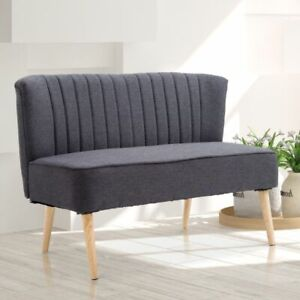 Details About Dark Grey Sofa 2 Seater Retro Double Seat Wood Chair Chaise Lounge Living Room
