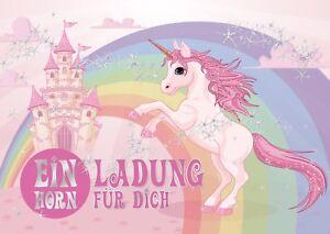 Einladungskarten-zum-Maedchen-Kindergeburtstag-mit-Einhorn-auf-Regenbogen