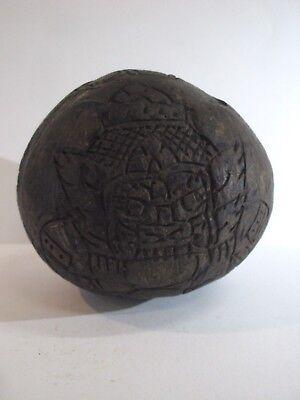 RAHU OM MOON LP NOI CARVING COCONUT HOLY PENDANT MAGIC WEALTH CHARMS THAI AMULET