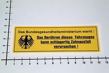 BUNDESGESUNDHEITSMINISTERIUM Aufkleber Sticker Warning Achtung Auto OEM NOS-0029