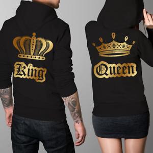 Felpe-di-coppia-King-amp-Queen-Oro-con-Cappuccio-Fidanzati-Regalo-San-Valentino