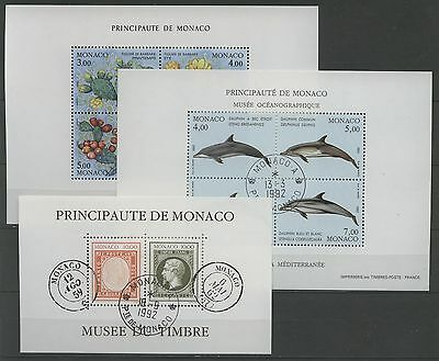 Briefmarken Bl.53,54,56 Gestempelt Used 1992 Monaco