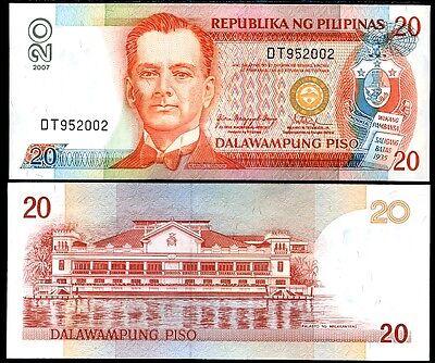 PHILIPPINES 20 PISO PESO 2007 P 182 AU-UNC