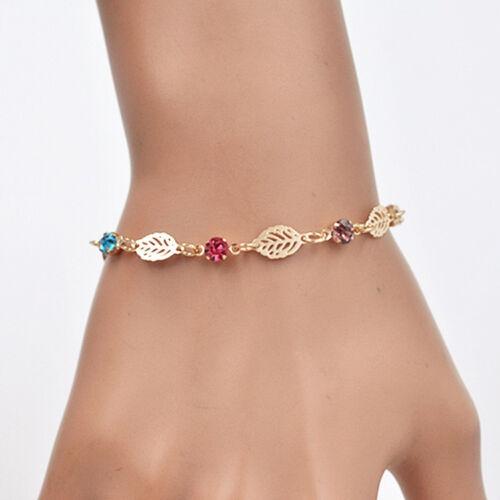 Chic Retro Frauen Mädchen Schmuck Strass Blatt Kette Armband Armreif Geschenk