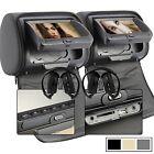 "Gray 7"" Pair Car Pillow Headrest DVD Player IR Headphones Game USB SD+Headphone"