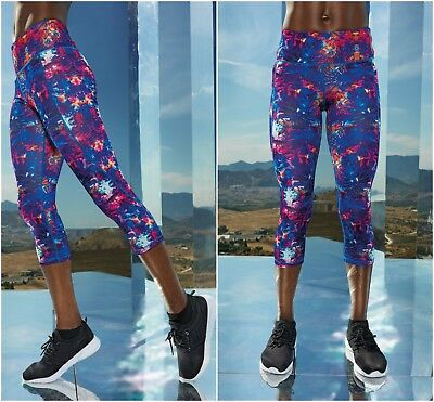 Leggings Running Yoga Sports Fitness Gym Capri Womens 3/4 Pants Exercise Bottoms