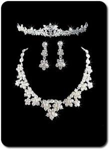 Komplett Set Halskette Ohrringe Tiara Krone Schmuckset Hochzeit Braut Kristall Weniger Teuer