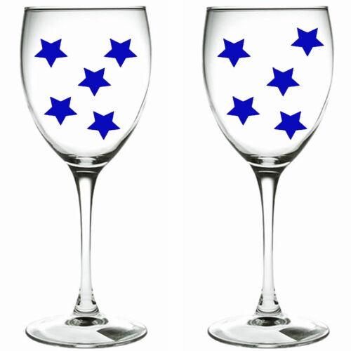 DECAL xmas stars WINE GLASS VINYL STICKERS 90 x blue stars